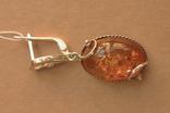 Серьги серебро, золото, янтарь, фото №5