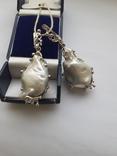 Серебряные серьги с крупным жемчугом барокко, фото №2