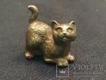 Котенок милый коллекционная миниатюра бронза брелок, фото №4