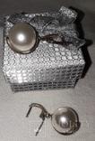 Серьги серебро жемчуг-майорка крупный, фото №6