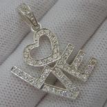 Новый Серебряный Кулон Подвеска I love you Сердце День Валентина 925 проба Серебро 139