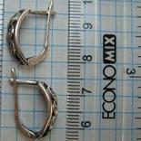 Серебряные Серьги Сережки Узор Листья Английская Застежка Замок 925 проба Серебро 058 фото 5