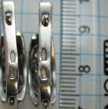 Серебряные Серьги Сережки Узор Листья Английская Застежка Замок 925 проба Серебро 058 фото 6