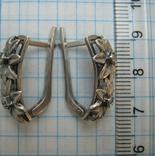 Серебряные Серьги Сережки Цветы Английская Застежка Замок 925 проба Серебро 064 фото 4