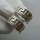Серебряные Серьги Греческий Узор Меандр Английская Застежка Замок 925 проба Серебро 057