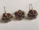Золотые серьги и кольцо (гарнитур) с гранатами. 750., фото №5
