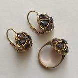 Золотые серьги и кольцо (гарнитур) с гранатами. 750., фото №6