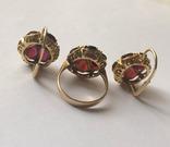 Золотые серьги и кольцо (гарнитур) с гранатами. 750., фото №8