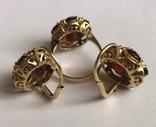 Золотые серьги и кольцо (гарнитур) с гранатами. 750., фото №9