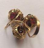 Золотые серьги и кольцо (гарнитур) с гранатами. 750., фото №10