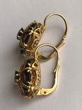 Золотые серьги и кольцо (гарнитур) с гранатами. 750., фото №11
