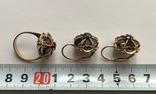 Золотые серьги и кольцо (гарнитур) с гранатами. 750., фото №12
