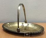 Серебряная конфетница 875 пробы с позолотой, фото №2