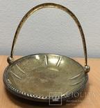 Серебряная конфетница 875 пробы с позолотой, фото №3
