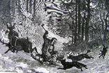 Гравюра. Зырянин и волки. Конец 19 века