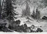 Гравюра. Тулумский водопад. Конец 19 века