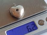 Советский кулон в виде сердце, для фото. Серебро 875 проба с головкой., фото №7