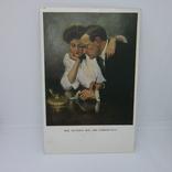 Открытка Девушка и молодой человек пишут письмо. Чтение, фото №2