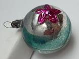 Елочная игрушка Шар  с выпуклым рисунком  Звезда, СССР, фото №3