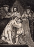 "Старинная гравюра. Шекспир. ""Ричард III"", акт III. 1803 год. (42 на 32 см.). Оригинал."
