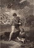 """Старинная гравюра. Шекспир. """"Буря"""", акт II. 1803 год. (42 на 32 см.). Оригинал."""