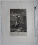 "Старинная гравюра. Шекспир. ""Буря"", акт II. 1803 год. (42 на 32 см.). Оригинал. фото 5"