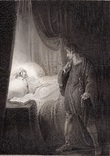 "Старинная гравюра. Шекспир. ""Цимбелин"", акт II. 1803 год. (42 на 32 см.). Оригинал."