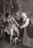"""Старинная гравюра. Шекспир. """"Комедия ошибок"""", акт IV. 1803 год. (42 на 32 см.). Оригинал."""