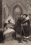"""Старинная гравюра. Шекспир. """"Генрих VIII"""", акт III. 1803 год. (42 на 32 см.). Оригинал."""