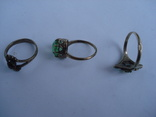 Три кольца из серебра СССР, позолота. 875пр., фото №12