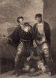 """Старинная гравюра. Шекспир. """"Король Иоанн"""", акт IV. 1803 год. (42 на 32 см.). Оригинал."""