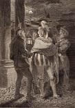 """Старинная гравюра. Шекспир. """"Много шума из ничего"""". 1803 год. (42 на 32 см.). Оригинал."""