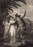 """Старинная гравюра. Шекспир. """"Укрощение строптивой"""". 1803 год. (42 на 32 см.). Оригинал."""