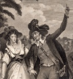 """Старинная гравюра. Шекспир. """"Укрощение строптивой"""". 1803 год. (42 на 32 см.). Оригинал. фото 2"""