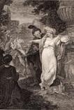 """Старинная гравюра. Шекспир. """"Троил и Крессида"""". 1803 год. (42 на 32 см.). Оригинал."""