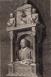 Старинная гравюра. Шекспир. Монумент Шекспиру. 1803 год. (42 на 32 см.). Оригинал.