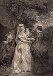 """Старинная гравюра. Шекспир. """"Бесплодные усилия любви"""". 1803 год. (42 на 32 см.). Оригинал."""