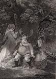 """Старинная гравюра. Шекспир. """"Виндзорские проказницы"""". 1803 год. (42 на 32 см.). Оригинал."""