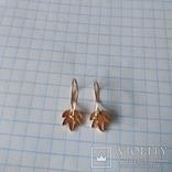 Золотые сережки листочки золотые серьги, фото №4