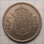 Испания 5 песет, 1975 год, фото №2