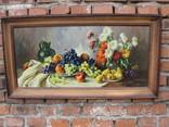 Картіна Маслом E. KRUGER Пейзаж столу з фруктами фото 1