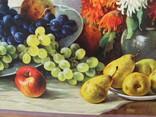Картіна Маслом E. KRUGER Пейзаж столу з фруктами фото 7