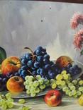 Картіна Маслом E. KRUGER Пейзаж столу з фруктами фото 10