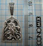 Новая Серебряная Иконка Кулон Подвеска Георгий Победоносец Дракон 925 проба Серебро 725 фото 2