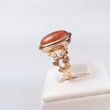 Золотое кольцо с натуральным кораллом, фото №3