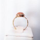 Золотое кольцо с натуральным кораллом, фото №4