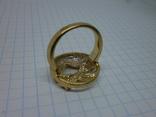 Кольцо под золото с камнями. Новое, фото №5