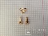 Набор: серьги, кольцо (17р); 585, трезубец. 9,5 г., фото №3