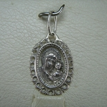 Новый Серебряная Иконка Кулон Пресвятая Богородица Казанская 925 проба Серебро 847