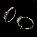 Серьги-кольца с натуральными танзанитами, фото №4